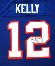 Buffalo Bills Jim Kelly Autographed Blue Mitchell & Ness Jersey Size 44 PSA/DNA Stock #99168