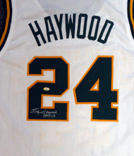 "Seattle Sonics Spencer Haywood Autographed White Jersey ""HOF 15"" MCS Holo Stock #104225"