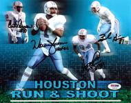 "Houston Oilers Run & Shoot Autographed 8x10 Photo ""HOF 06"" With 4 Signatures Including Warren Moon PSA/DNA Stock #105448"