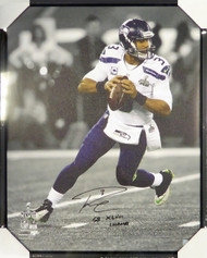 "Russell Wilson Autographed Framed 24x30 Canvas Photo Seattle Seahawks ""SB XLVIII Champs"" Super Bowl RW Holo Stock #107484"