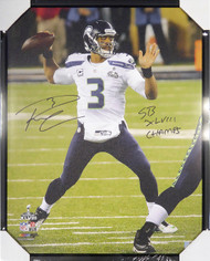 "Russell Wilson Autographed Framed 24x30 Canvas Photo Seattle Seahawks ""SB XLVIII Champs"" Super Bowl RW Holo Stock #107486"