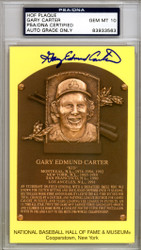 Gary Edward Carter Autographed HOF Plaque Postcard Mets, Expos Gem Mint 10 Full Name PSA/DNA Stock #111173
