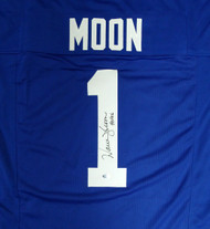 "Seattle Seahawks Warren Moon Autographed Blue Jersey ""HOF 06"" MCS Holo Stock #112487"