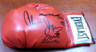 Boxing Greats Autographed Red Everlast Boxing Glove With 3 Signatures Including Sugar Ray Leonard, Thomas Hearns & Roberto Duran LH PSA/DNA Stock #112574