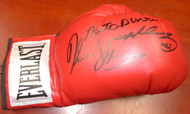 Sale!! Boxing Greats Autographed Red Everlast Boxing Glove With 3 Signatures Including Sugar Ray Leonard, Thomas Hearns & Roberto Duran RH PSA/DNA Stock #112575