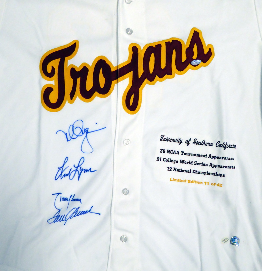reputable site c690d 80869 USC Tojans Legends Autographed White Jersey With 4 Signatures Including Tom  Seaver, Mark McGwire, Randy Johnson & Fred Lynn Limited Edition #/42 ...