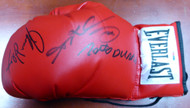 Boxing Greats Autographed Red Everlast Boxing Glove With 3 Signatures Including Sugar Ray Leonard, Thomas Hearns & Roberto Duran LH PSA/DNA Stock #113695