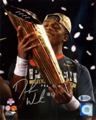 Deshaun Watson Autographed 8x10 Photo Clemson Tigers Holding Trophy Beckett BAS Stock #113714