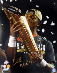 Deshaun Watson Autographed 16x20 Photo Holding Trophy Clemson Tigers Beckett BAS Stock #117276
