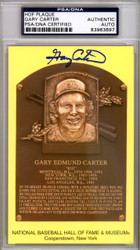Gary Carter Autographed HOF Plaque Postcard PSA/DNA Stock #118187