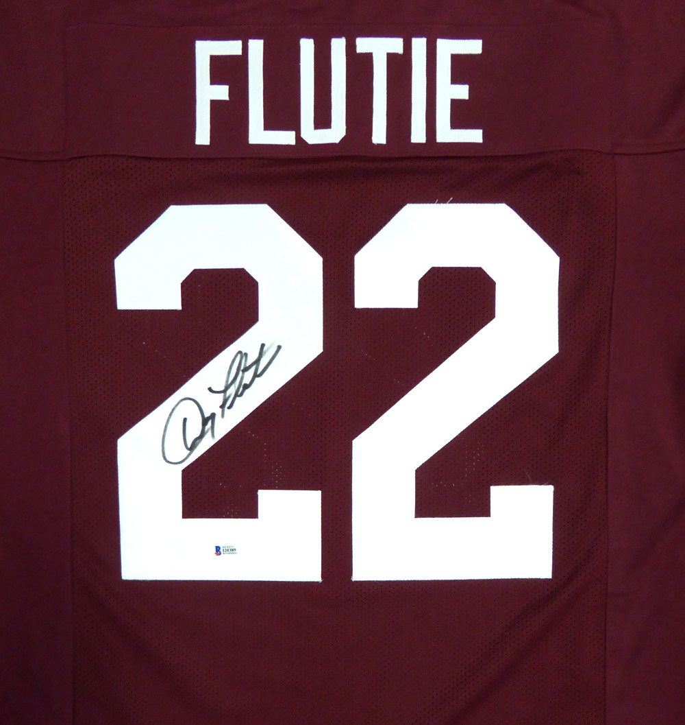 Boston College Eagles Doug Flutie Autographed Red Jersey Beckett BAS Stock  #119725