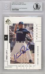 Kazuhiro Sasaki Autographed 2000 SP Authentic Rookie Card #120 Seattle Mariners Beckett BAS Stock #120874