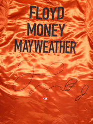 Floyd Mayweather Jr. Autographed Red Boxing Robe Beckett BAS Stock #121818