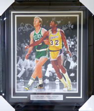 Larry Bird & Magic Johnson Autographed Framed 16x20 Photo Beckett BAS Stock #123714