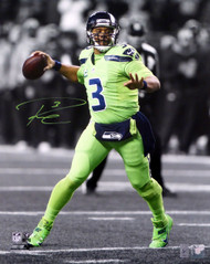 Russell Wilson Autographed 16x20 Photo Seattle Seahawks Action Green Color Rush RW Holo Stock #123810