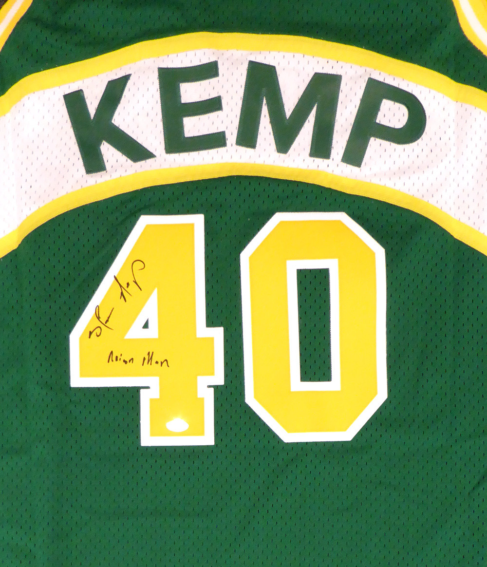 b19efc0c0d034 Seattle Sonics Shawn Kemp Autographed Green Adidas Hardwood Classics Jersey
