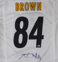 Pittsburgh Steelers Antonio Brown Autographed White Nike Jersey Size L (Signature Bleeding) Beckett BAS Stock #126634