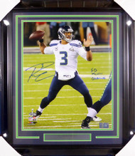 "Russell Wilson Autographed Framed 16x20 Photo Seattle Seahawks Super Bowl ""SB XLVIII Champs"" RW Holo Stock #126669"