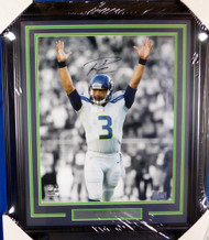 Russell Wilson Autographed Framed 16x20 Photo Seattle Seahawks RW Holo Stock #126673