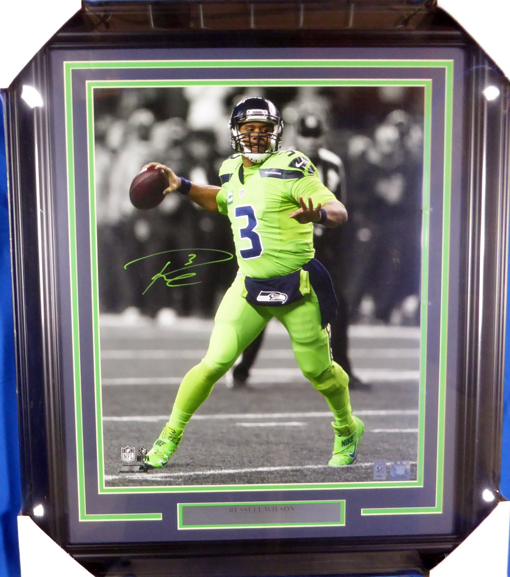 online retailer 70434 a142e Russell Wilson Autographed Framed 16x20 Photo Seattle Seahawks Action Green  Color Rush RW Holo Stock #126674