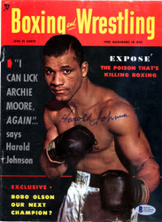 Harold Johnson Autographed Boxing & Wrestling Magazine Cover Beckett BAS #D12859