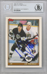 Luc Robitaille Autographed 1991-92 Topps Card #405 Los Angeles Kings Beckett BAS #10266286