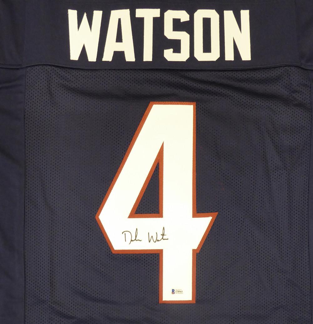 new arrival bf83d 9f488 Houston Texans Deshaun Watson Autographed Blue Jersey Beckett BAS Stock  #129110