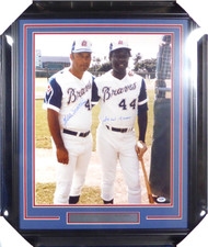 Hank Aaron & Eddie Mathews Autographed Framed 16x20 Photo Atlanta Braves PSA/DNA #X30527