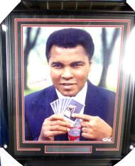 Muhammad Ali Autographed Framed 16x20 Photo (Creased) PSA/DNA #Q02875