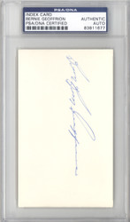 "Bernie ""Boom Boom"" Geoffrion Autographed 3x5 Index Card Canadiens, Rangers PSA/DNA #83811677"
