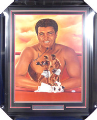 "Muhammad Ali Autographed Framed 18x24 Lithograph Photo ""1-17-88"" PSA/DNA #B92339"