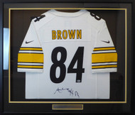 Pittsburgh Steelers Antonio Brown Autographed Framed White Nike Jersey Beckett BAS Stock #130316