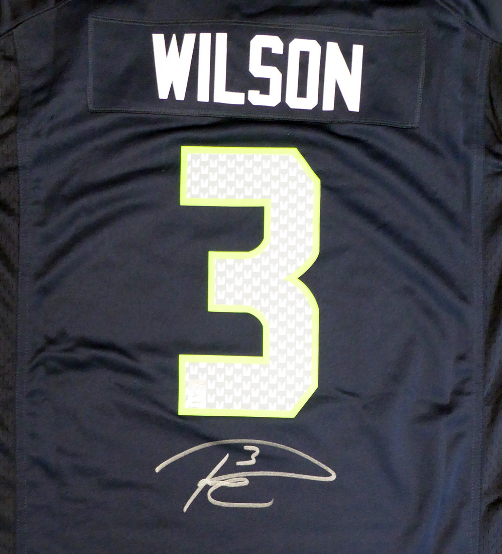new styles 92706 1712e Seattle Seahawks Russell Wilson Autographed Blue Nike Jersey Size XL RW  Holo Stock #130738