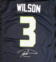 Seattle Seahawks Russell Wilson Autographed Blue Nike Jersey Size XL RW Holo Stock #130738