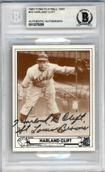 Harlond Clift Autographed 1983 TCMA 1943 Play Ball Reprint Card #15 St. Louis Browns Beckett BAS #10379289