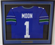 "Seattle Seahawks Warren Moon Autographed Framed Blue Jersey ""HOF 06"" MCS Holo Stock #131916"