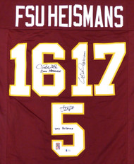 Florida State Seminoles Heisman Trophy Winners Jameis Winston, Chris Weinke & Charlie Ward Autographed Jersey With Inscriptions Beckett BAS Stock #131958