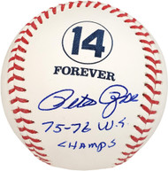 "Pete Rose Autographed Official MLB Forever 14 Baseball ""75-76 WS Champs"" Cincinnati Reds Beckett BAS Stock #132132"