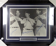 Mickey Mantle, Joe DiMaggio & Ted Williams Autographed Framed 16x20 Photo JSA #Y38556