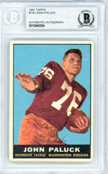 John Paluck Autographed 1961 Topps Rookie Card #130 Washington Redskins Beckett BAS #10540204