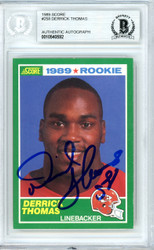 Derrick Thomas Autographed 1989 Score Rookie Card #258 Kansas City Chiefs Beckett BAS #10540592