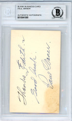 "Paul Waner Autographed 2x3.5 Blank Business Card Pittsburgh Pirates ""To Edith Good Luck"" Vintage Playing Days Signature Beckett BAS #10541085"