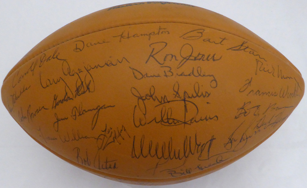 4cc98588 1969 Green Bay Packers Team Autographed Football With 50 Signatures  Including Bart Starr PSA/DNA #AE04869