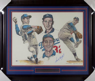 Sandy Koufax Autographed Framed 18x24 Lithograph Photo Los Angeles Dodgers Beckett BAS Stock #135266