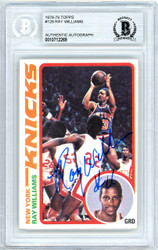 Ray Williams Autographed 1978-79 Topps Rookie Card #129 New York Knicks Beckett BAS #10712269