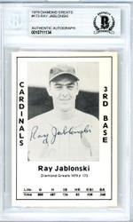 Ray Jablonski Autographed 1979 Diamond Greats Card #173 St. Louis Cardinals Beckett BAS #10711134