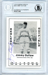 Jimmy Outlaw Autographed 1979 Diamond Greats Card #253 Cincinnati Reds Beckett BAS #10711443