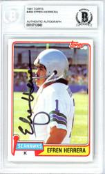 Efren Herrera Autographed 1981 Topps Card #469 Seattle Seahawks Beckett BAS #10712043
