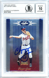 Chipper Jones Autographed 1996 Leaf Limited Card #27 Atlanta Braves Gem Mint 10 Beckett BAS #10712533