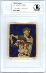 Earl Torgeson Autographed 1949 Bowman Rookie Card #17 Boston Braves Beckett BAS #10736543